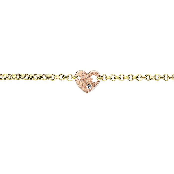 14K Yellow-Rose Gold Diamond Bracelet