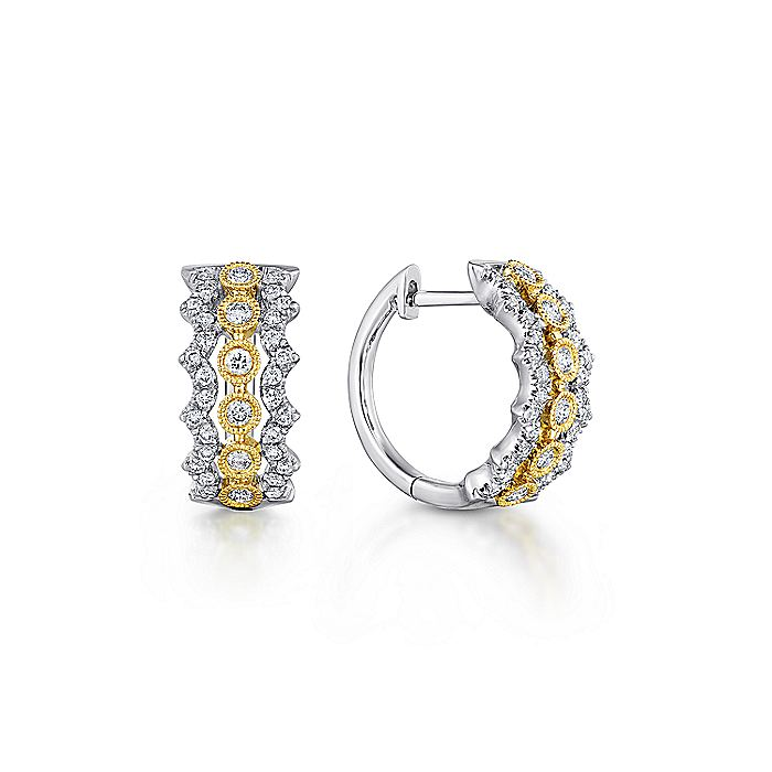 14K Yellow-White Gold 10mm Wide Diamond Huggie Earrings
