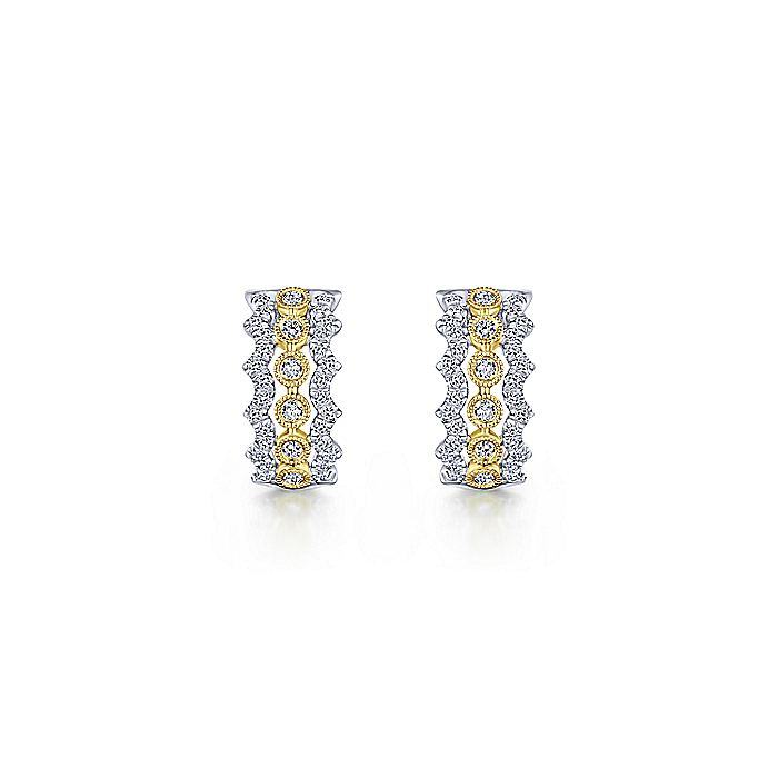 14K Yellow-White Gold 10mm Wide Diamond Huggie Earrings