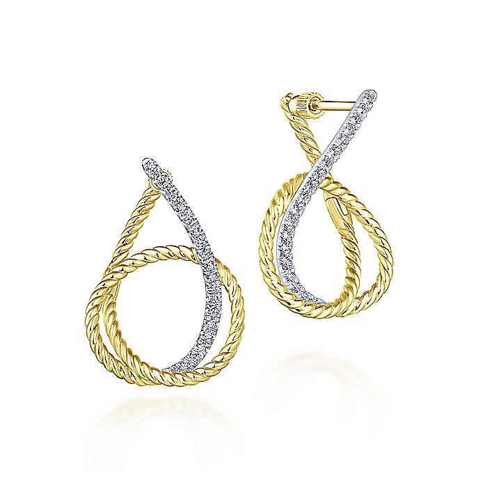 14K Yellow-White Gold 25mm Intricate Twisted Rope Diamond Hoop Earrings