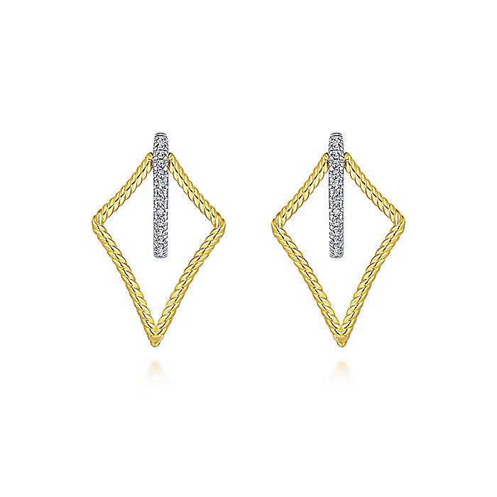 14K Yellow/White Gold 25mm Twisted Rope Kite and Diamond Huggie Earrings