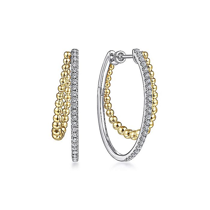 14K Yellow-White Gold 30mm Split Diamond Bujukan Hoop Earrings