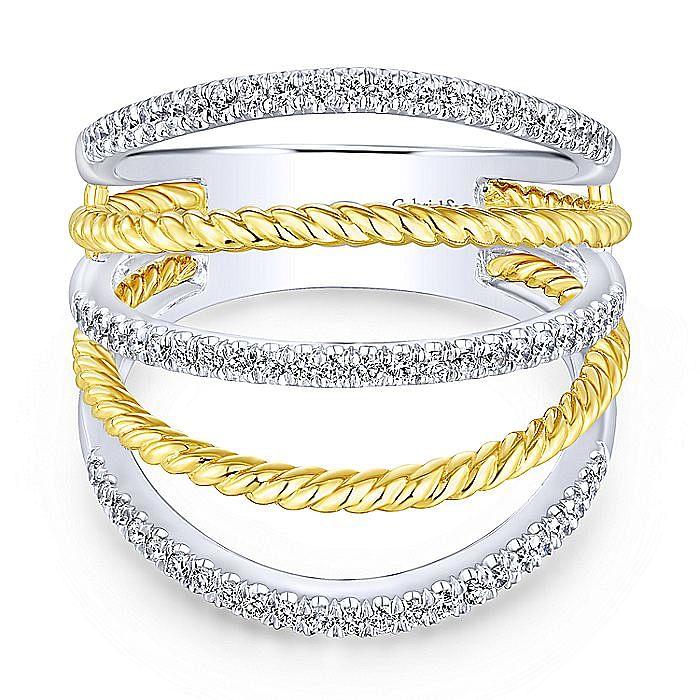 14K Yellow/White Gold Alternating Split Shank Diamond Ring