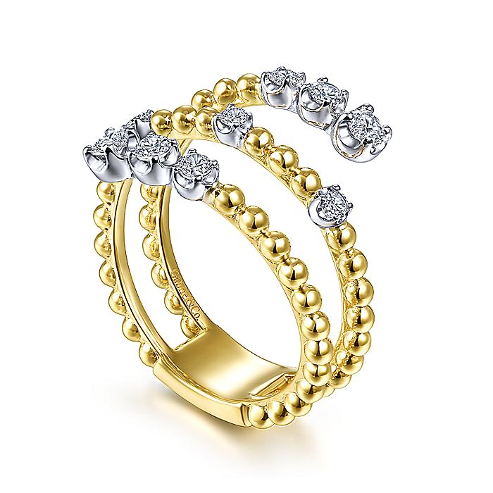 14K Yellow/White Gold Beaded Diamond 3 Row Wrap Ring