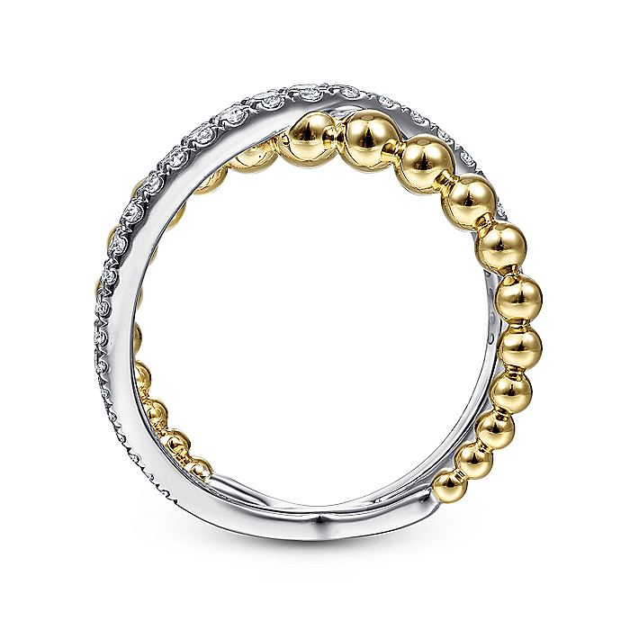 14K Yellow/White Gold Beaded Diamond Crossover Ring