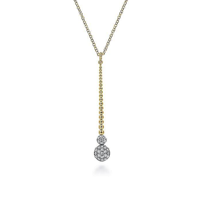14K Yellow-White Gold Bujukan Bead Bar and Pavé Diamond Drop Y Necklace