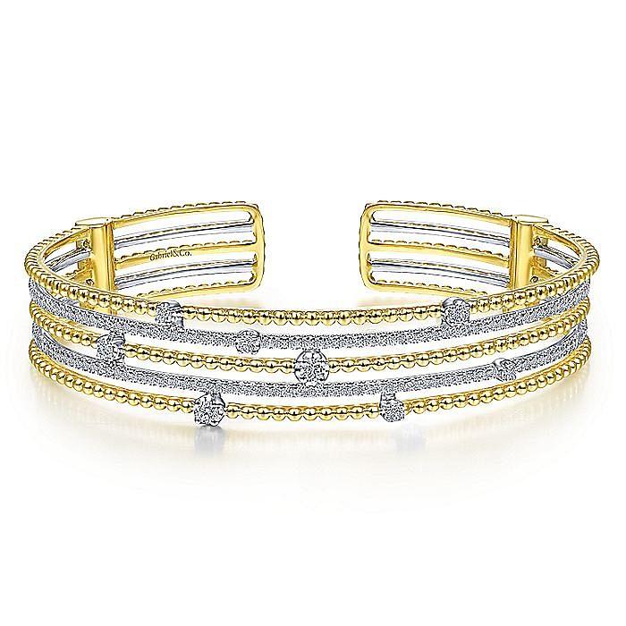 14K Yellow-White Gold Bujukan Bead Diamond Cuff Bracelet