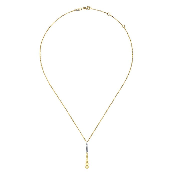14K Yellow-White Gold Bujukan Bead Y Necklace with Diamond Pavé Accent