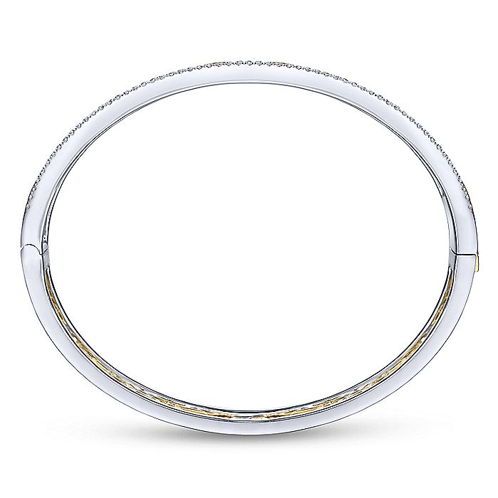 14K Yellow-White Gold Chain Link Bangle with Diamond Frame