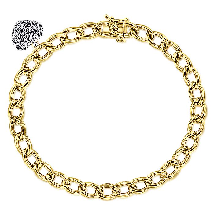 14K Yellow-White Gold Chain Link Bracelet with Pavé Diamond Puff Heart Charm