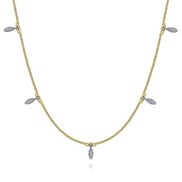 14K Yellow-White Gold Chain Necklace with Diamond Pavé Leaf Drops