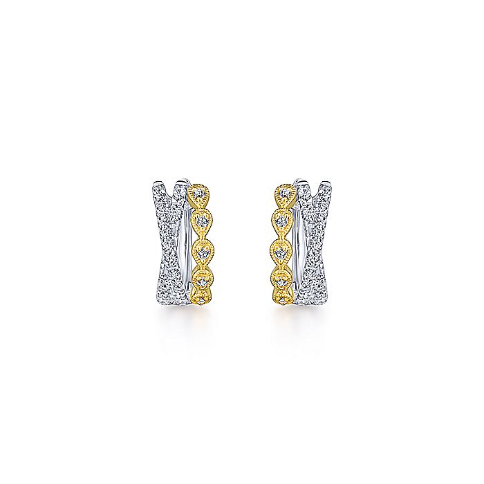 14K Yellow-White Gold Criss Cross 10mm Diamond Huggie Earrings