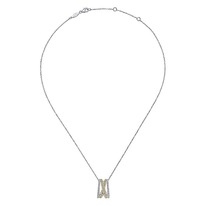 14K Yellow-White Gold Criss Cross Diamond Pendant Necklace
