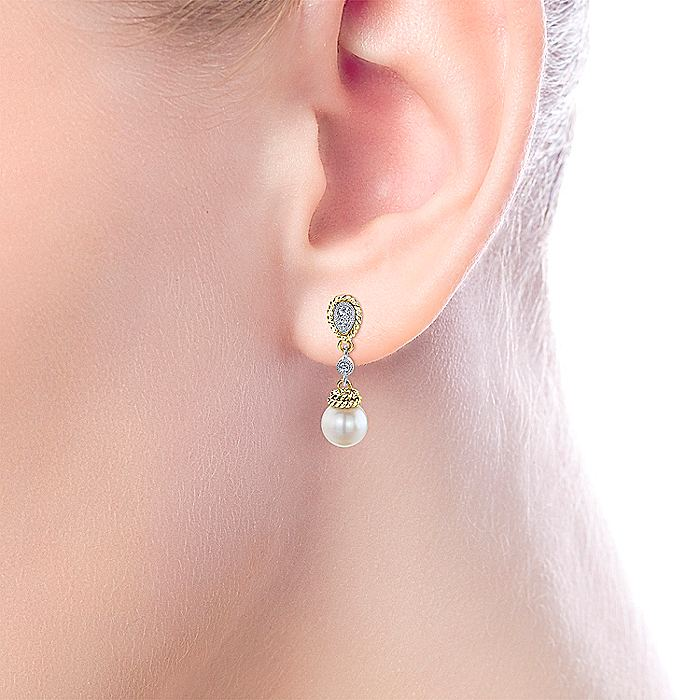 14K Yellow-White Gold Dangly Diamond and Pearl Drop Earrings