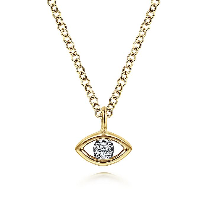 14K Yellow-White Gold Diamond Eye Pendant Necklace