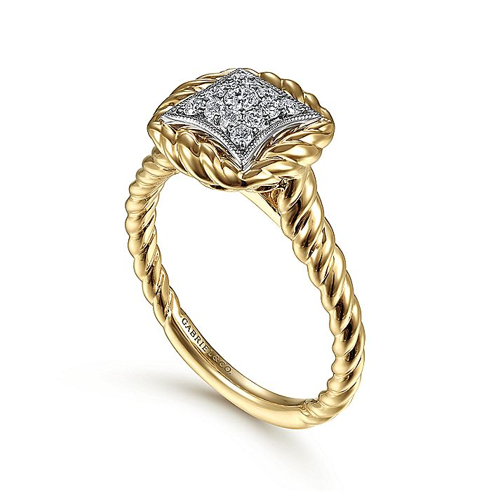 14K Yellow-White Gold Diamond Pavé Ring with Twisted Rope