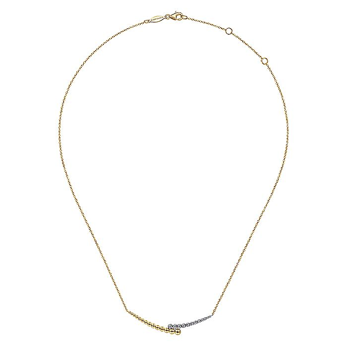 14K Yellow-White Gold Diamond Pavé and Bujukan Bead Curved Bar Necklace
