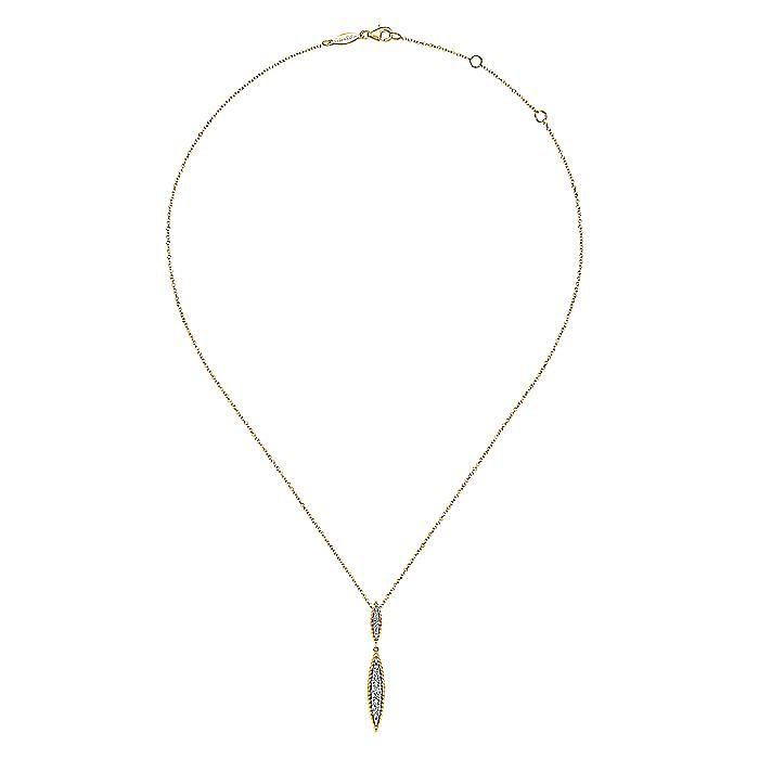 14K Yellow-White Gold Double Marquise Shape Diamond Pendant Necklace