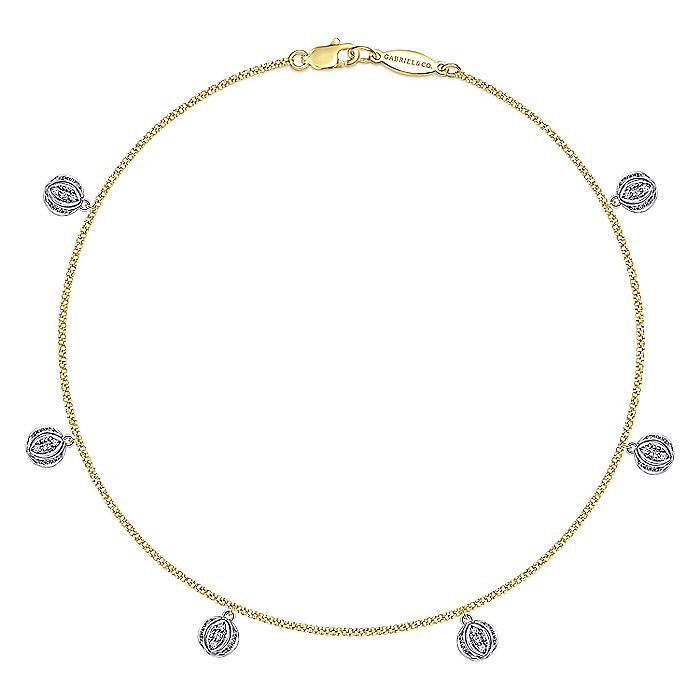 14K Yellow/White Gold Fashion Anklet Bracelet