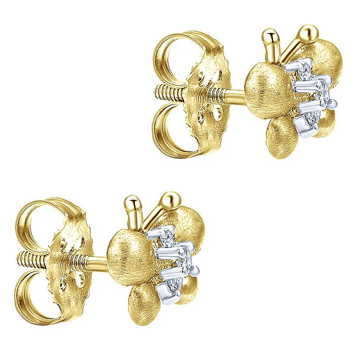 14K Yellow-White Gold Fashion Earring