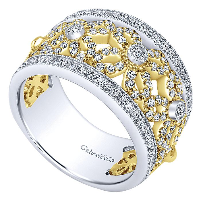 14K Yellow/White Gold Floral Openwork Wide Band Diamond Ring