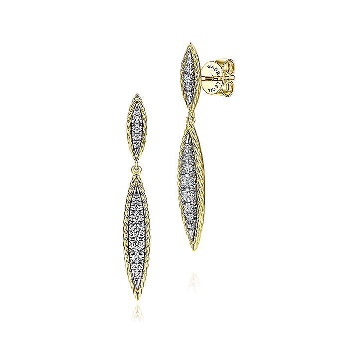 14K Yellow-White Gold Graduating Marquise Shape Diamond Stud Earrings