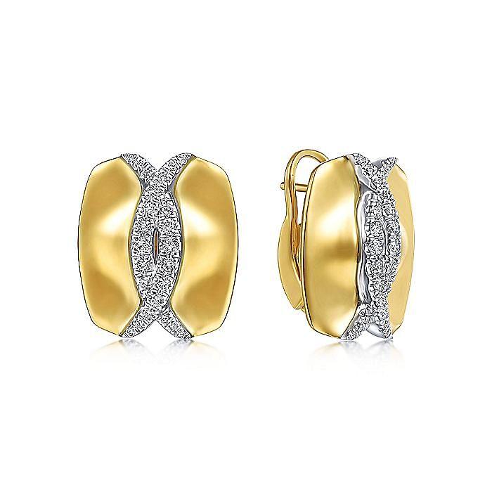 14K Yellow-White Gold High Polished Diamond Huggies