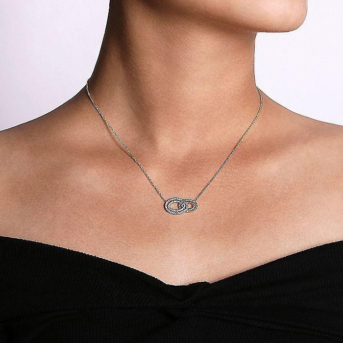 14K Yellow/White Gold Interlocking Oval Diamond Pendant Necklace