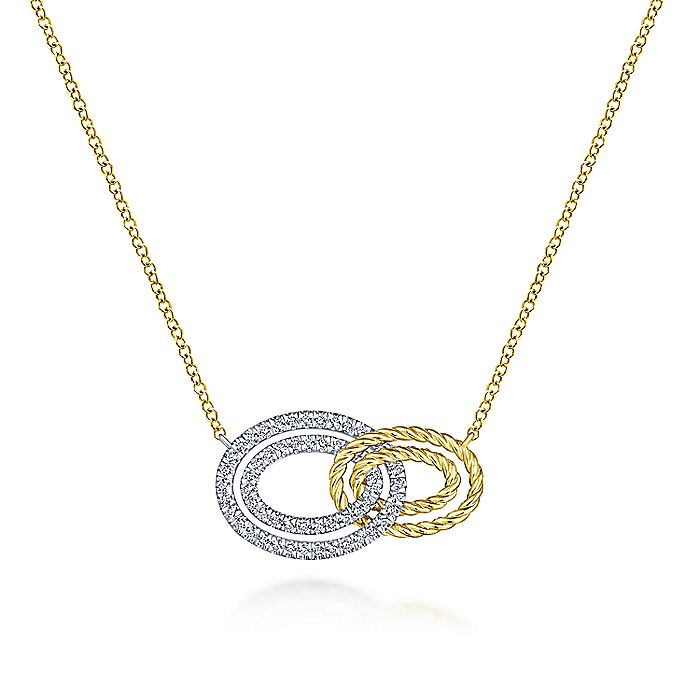 14K Yellow-White Gold Interlocking Oval Link Diamond Pendant Necklace