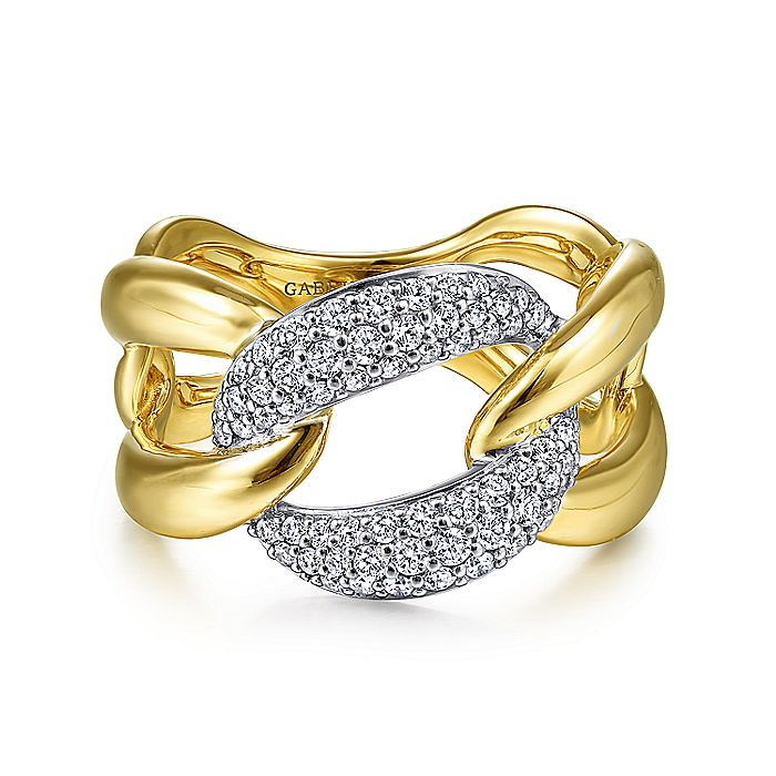 14K Yellow/White Gold Large Chainlink Diamond Ring