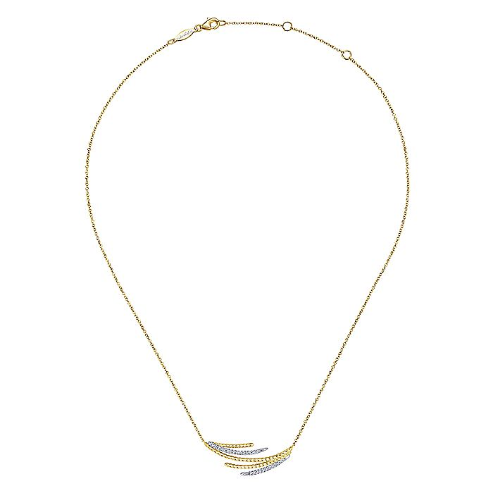 14K Yellow/White Gold Layered Diamond Bar Necklace
