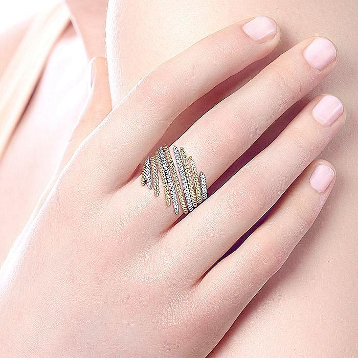 14K Yellow/White Gold Layered Diamond Wrap Ring