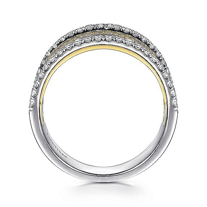 14K Yellow-White Gold Layered Wide Band Diamond Ring
