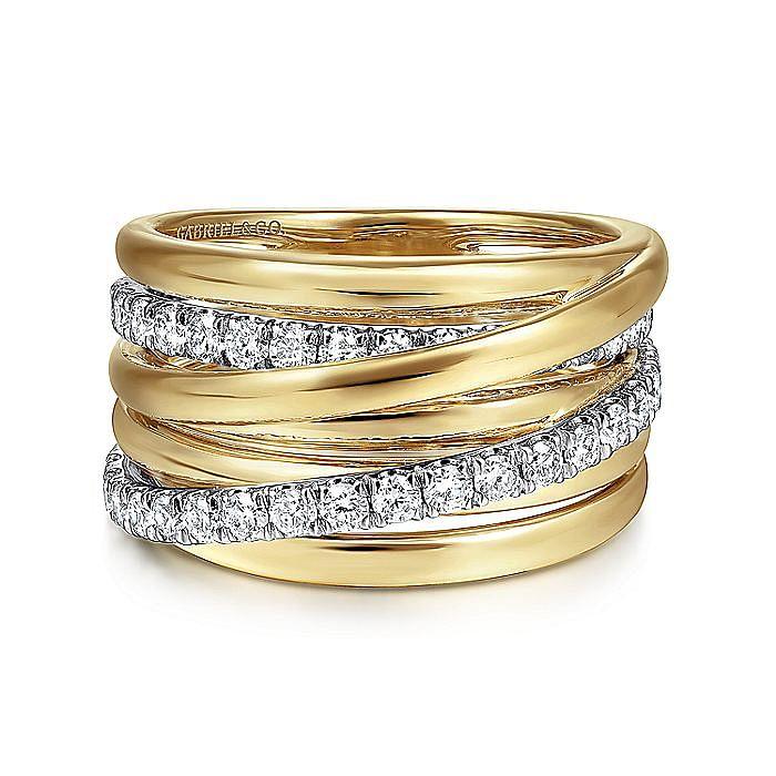 14K Yellow/White Gold Layered Wide Band Diamond Ring