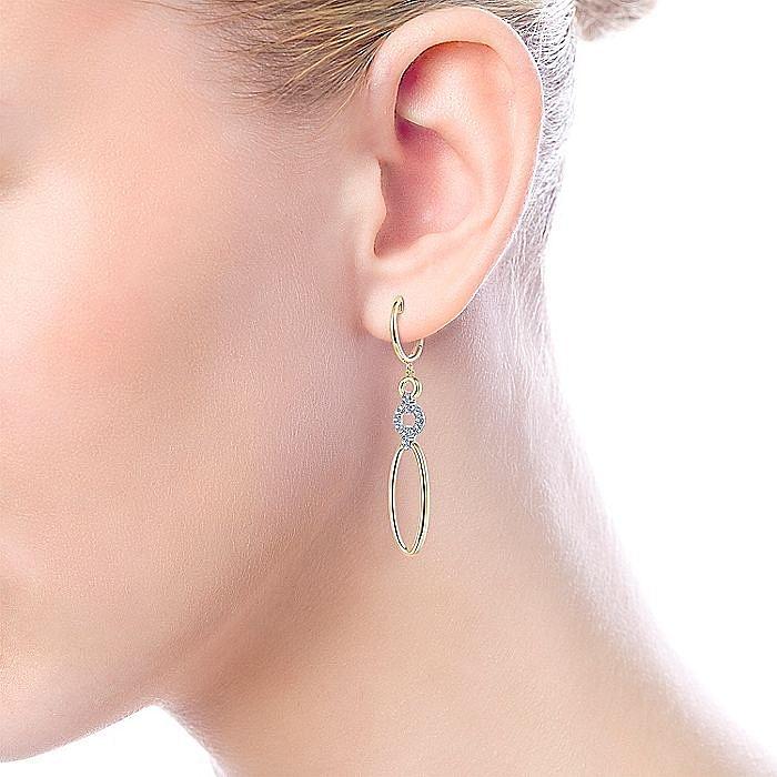 14K Yellow-White Gold Long Multi Link Diamond Huggie Drop Earrings