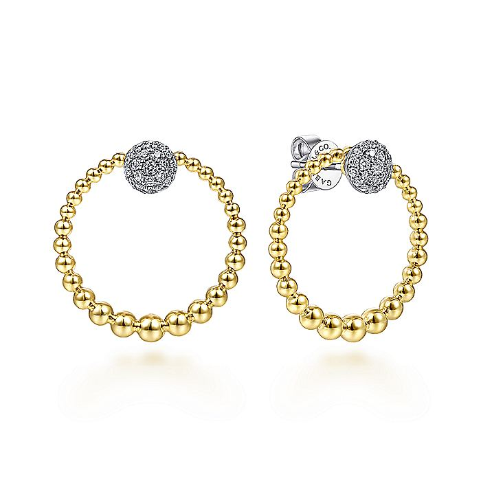 14K Yellow-White Gold Open Beaded Circle with Pavé Diamond Disc Stud Earrings