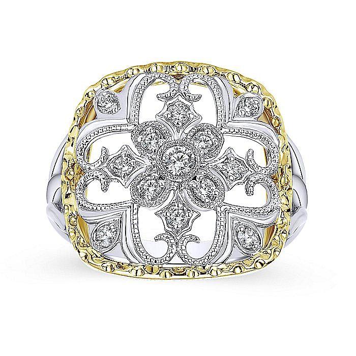 14K Yellow/White Gold Openwork Quatrefoil Diamond Ring