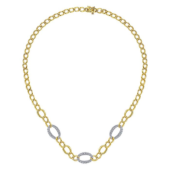 14K Yellow-White Gold Oval Chain Link Necklace with Diamond Pavé