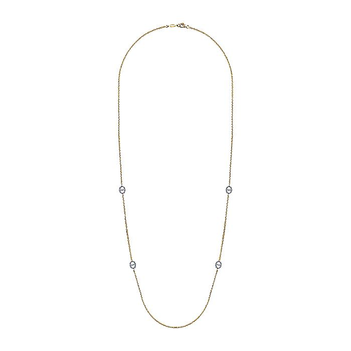 14K Yellow-White Gold Oval Diamond Link Station Necklace