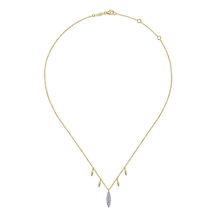14K Yellow-White Gold Pavé Diamond Marquise Pendant Necklace with Side Drops