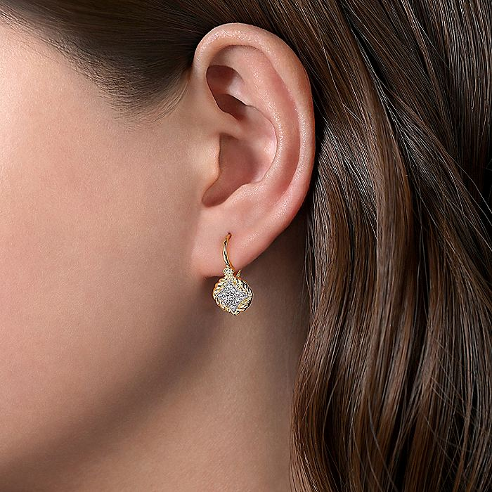 14K Yellow-White Gold Pave Diamond Leverback Earrings
