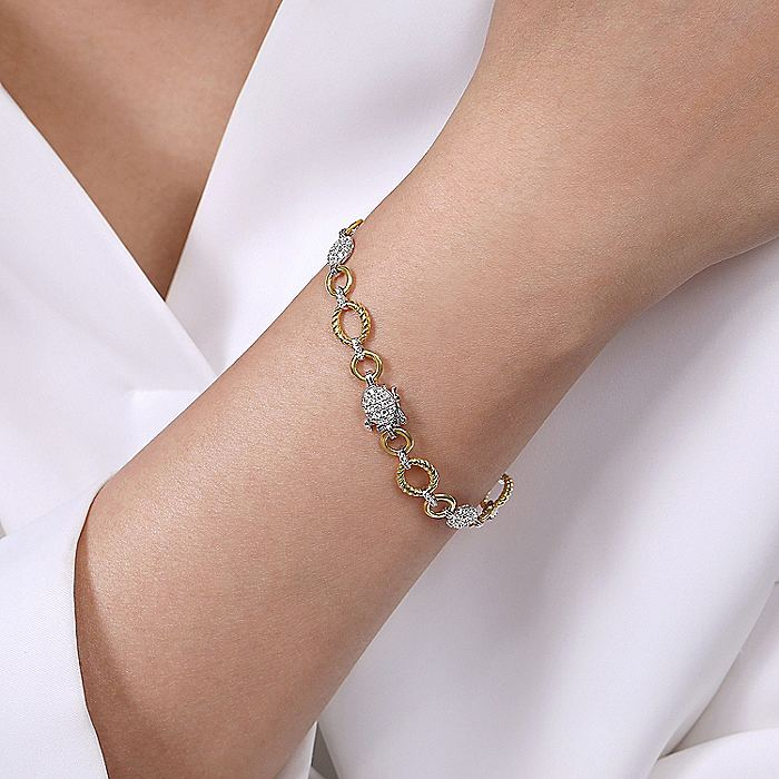 14K Yellow-White Gold Plain and Twisted Rope Link Bracelet with Pavé Diamond Cluster Stations