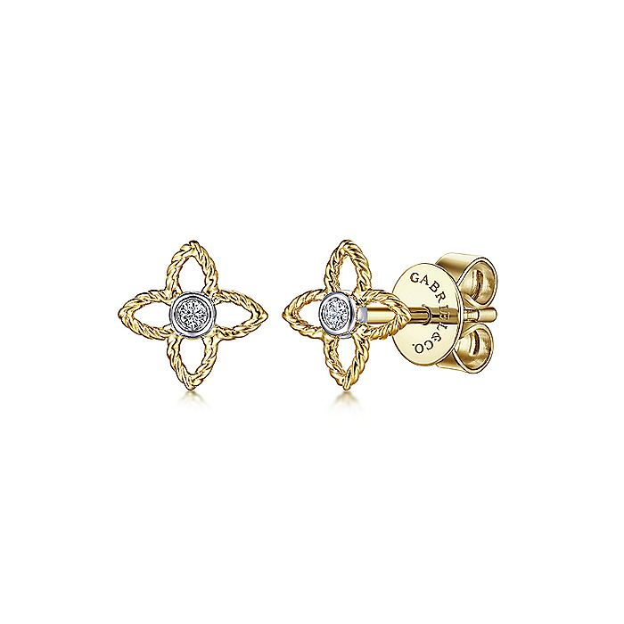 14K Yellow-White Gold Quatrefoil Twisted Rope and Diamond Stud Earrings