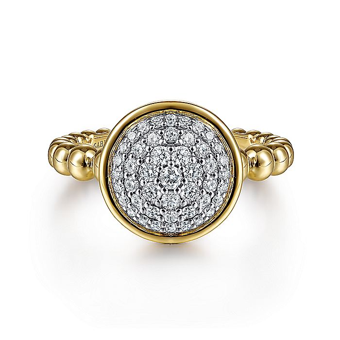 14K Yellow/White Gold Round Diamond Cluster Ring