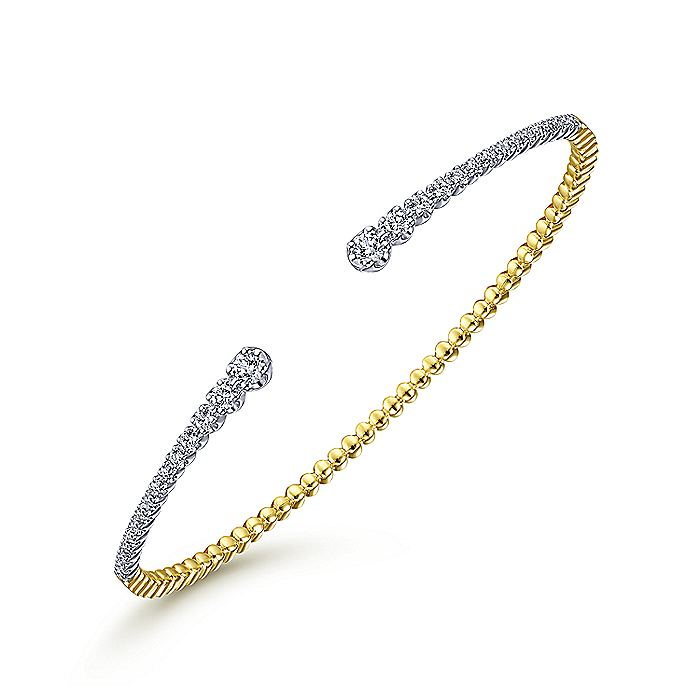 14K Yellow/White Gold Split Cuff Bangle with Graduating Diamonds