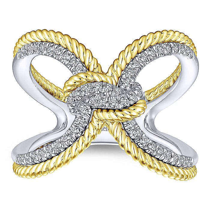 14K Yellow/White Gold Split Shank Diamond Knot Ring