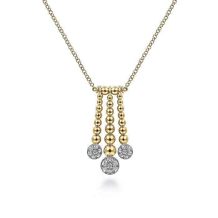 14K Yellow-White Gold Triple Bujukan Bar Pendant Necklace with Diamond Pavé Discs