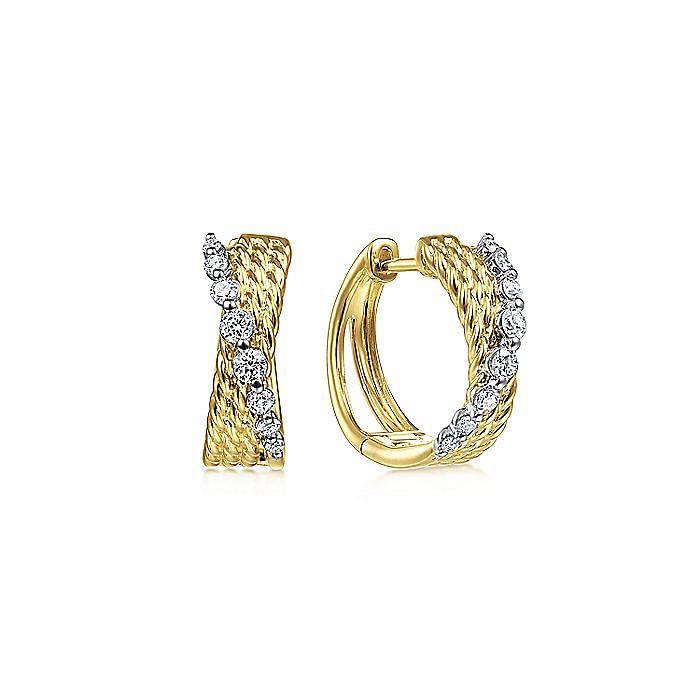 14K Yellow-White Gold Twisted 15mm Diamond Huggie Earrings