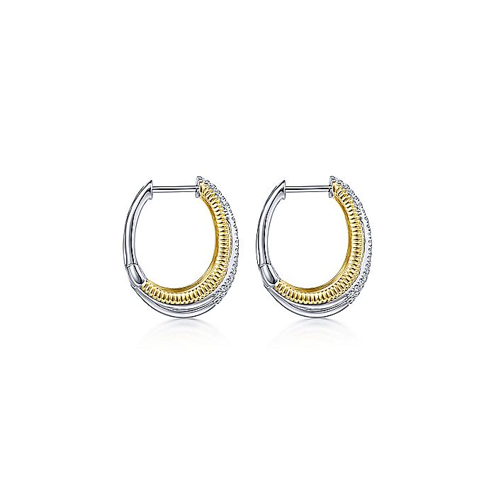 14K Yellow-White Gold Twisted 20mm Diamond Hoop Earrings