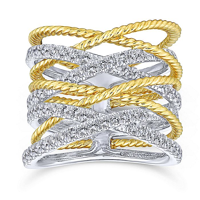 14K Yellow/White Gold Twisted Criss Cross Wide Band Diamond Ring